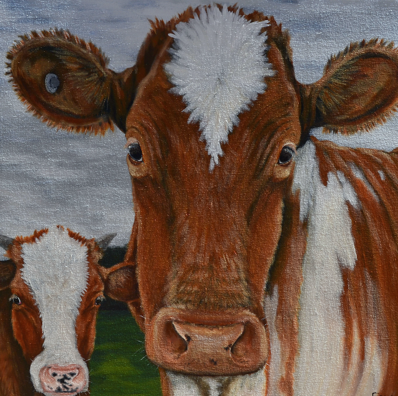 (CreativeWork) Big Cow Little Cow by Fiona Groom. arcylic-painting. Shop online at Bluethumb.