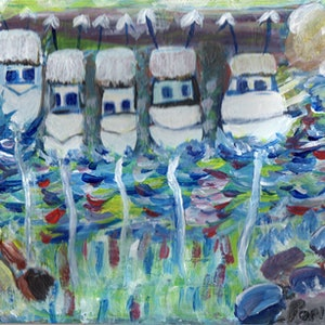 (CreativeWork) Chabby Chic Yachts  on Australia Day  Oz Differance  by Oz  Differance Oz Mate. arcylic-painting. Shop online at Bluethumb.