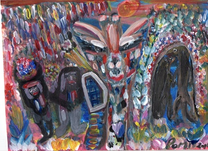 (CreativeWork) Big African Giraffe and Warriors at Meerkat Wedding by Oz  Differance Oz Mate. arcylic-painting. Shop online at Bluethumb.