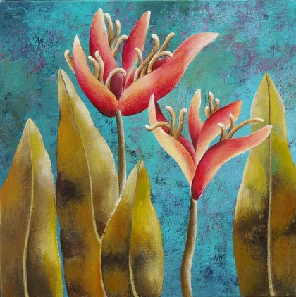 """(CreativeWork) IN FULL BLOOM """"HALICONIA"""" by Johanna Hildebrandt. arcylic-painting. Shop online at Bluethumb."""