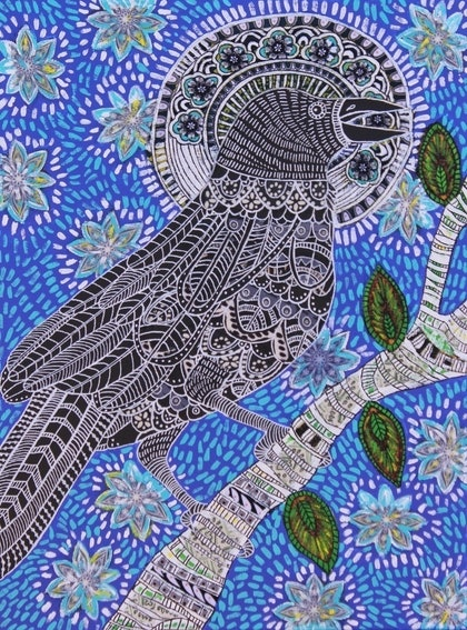(CreativeWork) The Raven and the Crow by Belinda Joynes. mixed-media. Shop online at Bluethumb.