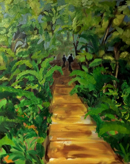 (CreativeWork) Forest Walk by Amanda Hunt. oil-painting. Shop online at Bluethumb.