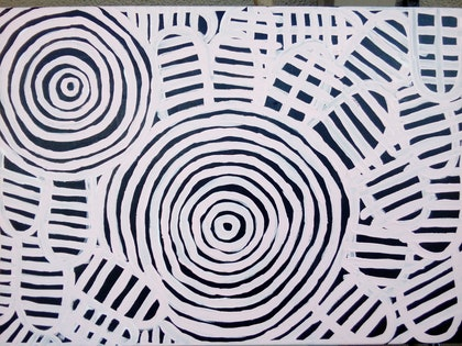 (CreativeWork) There was a Meeting. Aboriginal Art Aus. by Clementine Ecila. arcylic-painting. Shop online at Bluethumb.
