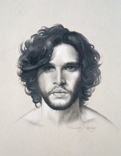 (CreativeWork) Game of Thrones John Snow by Amanda Appleby. drawing. Shop online at Bluethumb.