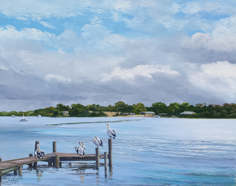 (CreativeWork) River at Noosa by M.A. Hobbs. oil-painting. Shop online at Bluethumb.