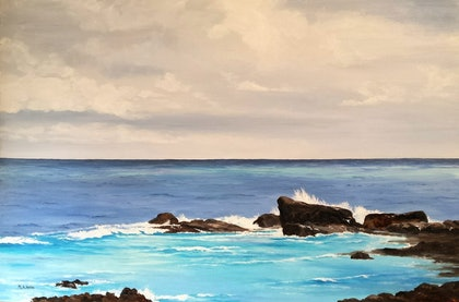 (CreativeWork) Moses Rock, W.A. by M.A. Hobbs. oil-painting. Shop online at Bluethumb.