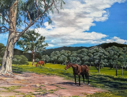 (CreativeWork) Ruby and friend by M.A. Hobbs. oil-painting. Shop online at Bluethumb.