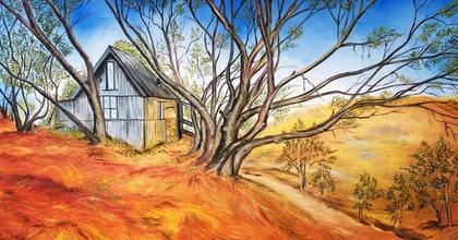 (CreativeWork) Cope Hut Of The Bogong Hight Plains Alpine National Park Victoria by warpan djoyo. oil-painting. Shop online at Bluethumb.