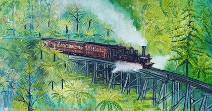 (CreativeWork) Steam Of Glory, Puffing Billy Steam Train, Belgrave,  victoria by warpan djoyo. oil-painting. Shop online at Bluethumb.