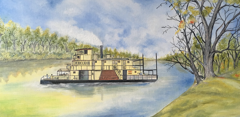 (CreativeWork) Singing Of PaddleStreamer, Murray River Paddle Steamers Emmylou Mildura Victoria by warpan djoyo. oil-painting. Shop online at Bluethumb.