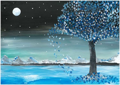 (CreativeWork) Starry night by Neha S. arcylic-painting. Shop online at Bluethumb.