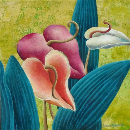 """(CreativeWork) IN FULL BLOOM """"ANTHURIUM"""" by Johanna Hildebrandt. arcylic-painting. Shop online at Bluethumb."""