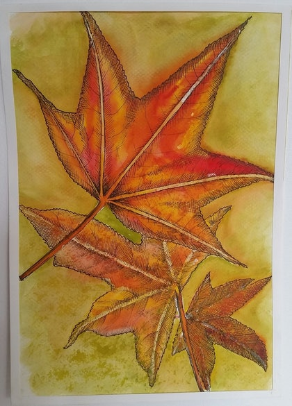 (CreativeWork) Autumn Leaves  by Feng Guo. arcylic-painting. Shop online at Bluethumb.