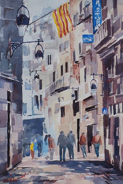 (CreativeWork) 'Old Quarter 1' , Barcelona by Jeff Whitehill. watercolour. Shop online at Bluethumb.