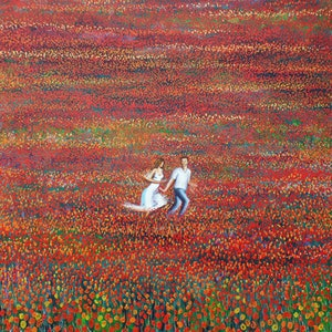 (CreativeWork) tulip field by Nigel Gillings. arcylic-painting. Shop online at Bluethumb.