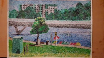 (CreativeWork) On the Torrens by Sonja Woodbridge. drawing. Shop online at Bluethumb.