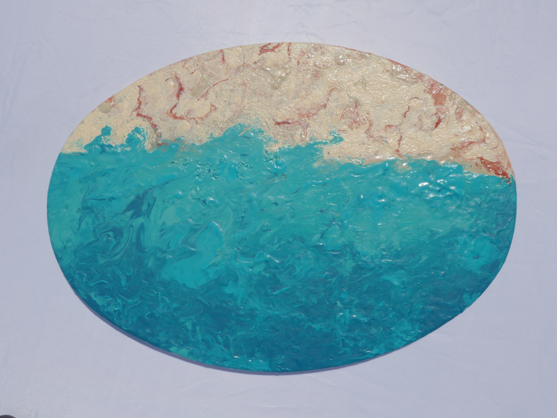 (CreativeWork) Walking on the Beach by Leila Koushaeian. resin. Shop online at Bluethumb.