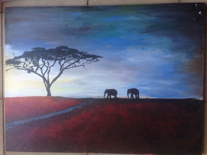(CreativeWork) Two elephants and a tree  by Bronte Jurgens. arcylic-painting. Shop online at Bluethumb.