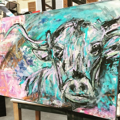 (CreativeWork) BULL BY THE HORNS by Christine Draper. mixed-media. Shop online at Bluethumb.