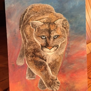 (CreativeWork) Cougar love by Héleen Verster. arcylic-painting. Shop online at Bluethumb.