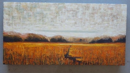 (CreativeWork) CAMEL IN THE WHEATFIELDS by TED MITFORD. oil-painting. Shop online at Bluethumb.