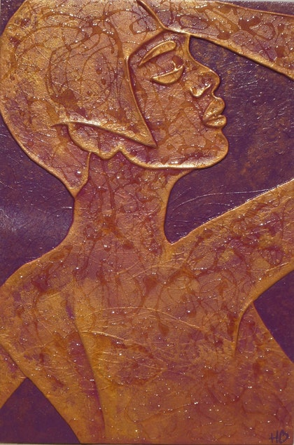 (CreativeWork) Golden Girl by Hannah Bailey. mixed-media. Shop online at Bluethumb.