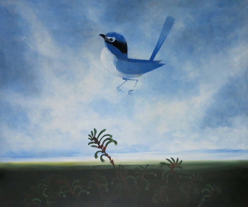 (CreativeWork) Wren with kangaroo paws by John Graham. oil-painting. Shop online at Bluethumb.