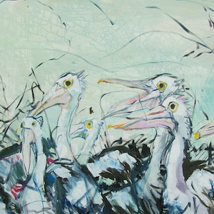 (CreativeWork) Pelicans by Katerina Apale. oil-painting. Shop online at Bluethumb.