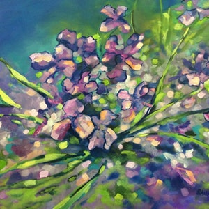 (CreativeWork) Splendour in the grass by sue bannister. oil-painting. Shop online at Bluethumb.