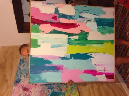 (CreativeWork) striped love  by Jo Fichtner. arcylic-painting. Shop online at Bluethumb.