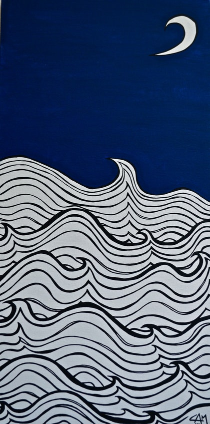 (CreativeWork) Night Seas by Carmel McGrath. arcylic-painting. Shop online at Bluethumb.