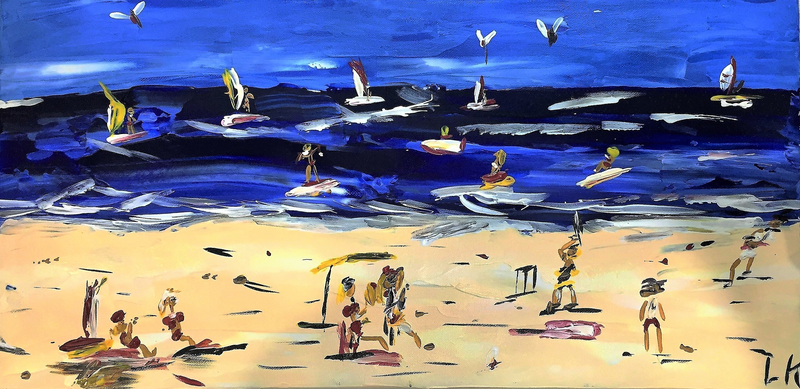(CreativeWork) Beach Days by Leith Kennedy. arcylic-painting. Shop online at Bluethumb.