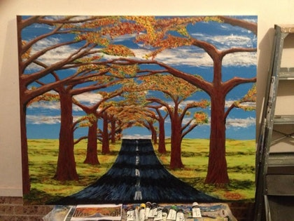 (CreativeWork) Country roads by Adam Spivakovsky. arcylic-painting. Shop online at Bluethumb.