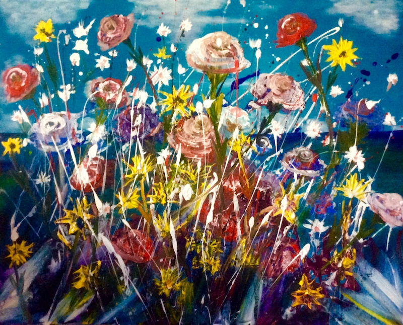 (CreativeWork) Roses on Wild, Wild about Wild/Flowers Series 60x75x3.5 by Louise Croese. mixed-media. Shop online at Bluethumb.
