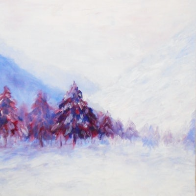 (CreativeWork) Snow by Aaron Lai. oil-painting. Shop online at Bluethumb.