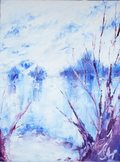 (CreativeWork) Snow river  by Aaron Lai. oil-painting. Shop online at Bluethumb.