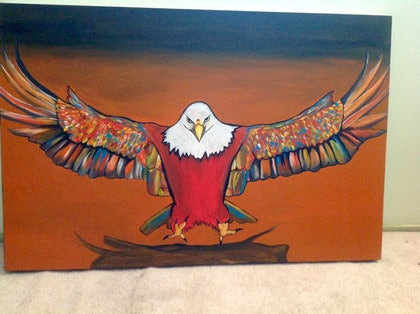 (CreativeWork) Unique original hand painted Bald Eagle by Ola Mancini. arcylic-painting. Shop online at Bluethumb.