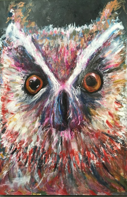 (CreativeWork) Owl  by Christine Draper. arcylic-painting. Shop online at Bluethumb.