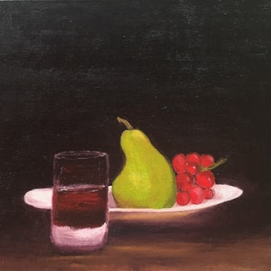 (CreativeWork) On a plate by Kim Holden. oil-painting. Shop online at Bluethumb.