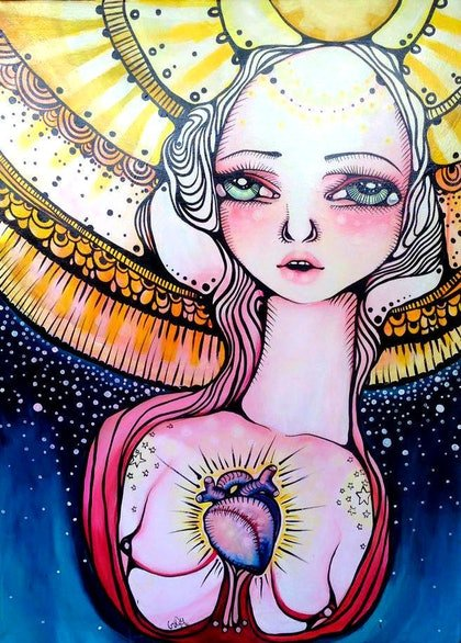 (CreativeWork) And the Pigments of Stardust Fell From the Sky Around Her by Braidy Hughes. arcylic-painting. Shop online at Bluethumb.