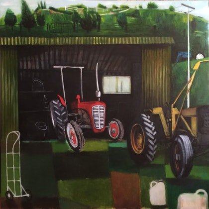 (CreativeWork) Tractor Repairs by Kirsten Chambers. oil-painting. Shop online at Bluethumb.