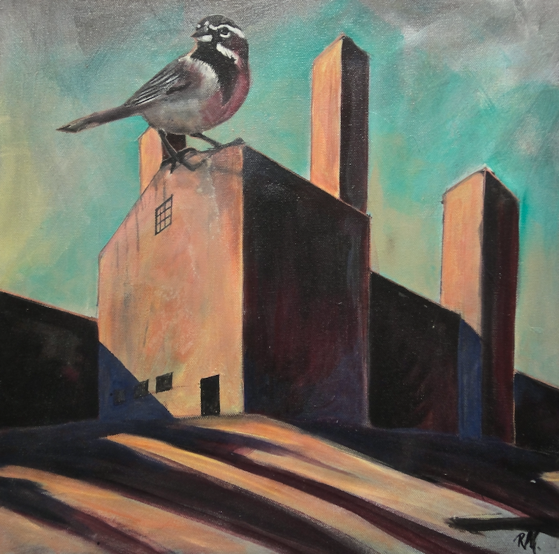 (CreativeWork) Sparrow on the Roof by Ross Morgan. #<Filter:0x00007fc1e2c8d998>. Shop online at Bluethumb.