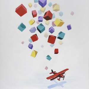 (CreativeWork) Coloured Blocks and Plane by Ross Morgan. arcylic-painting. Shop online at Bluethumb.