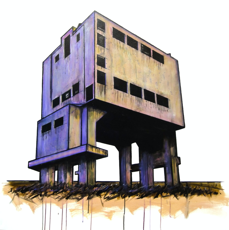 (CreativeWork) The Tower by Ross Morgan. arcylic-painting. Shop online at Bluethumb.