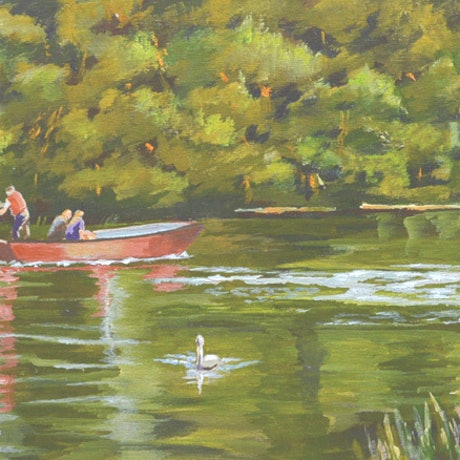 (CreativeWork) The Red Punt by Murray McLeod. Acrylic Paint. Shop online at Bluethumb.