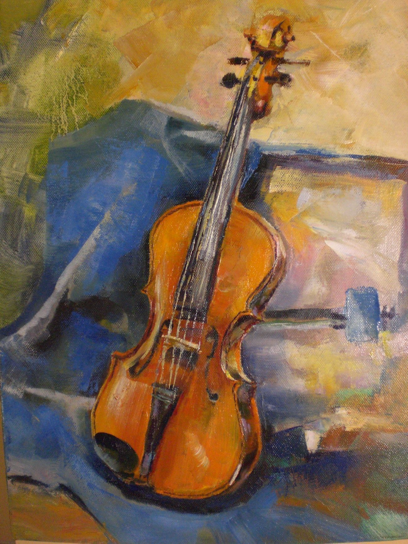 (CreativeWork) Viola by Elena Churilova. oil-painting. Shop online at Bluethumb.