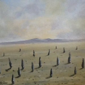 "(CreativeWork) ""Abandoned Sentinels"" by June Orr. oil-painting. Shop online at Bluethumb."