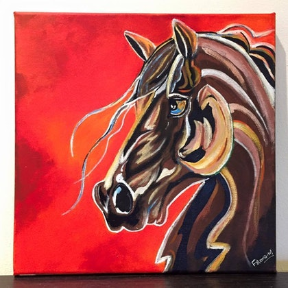 (CreativeWork) The Power Horse by Fatema Tinwala. arcylic-painting. Shop online at Bluethumb.