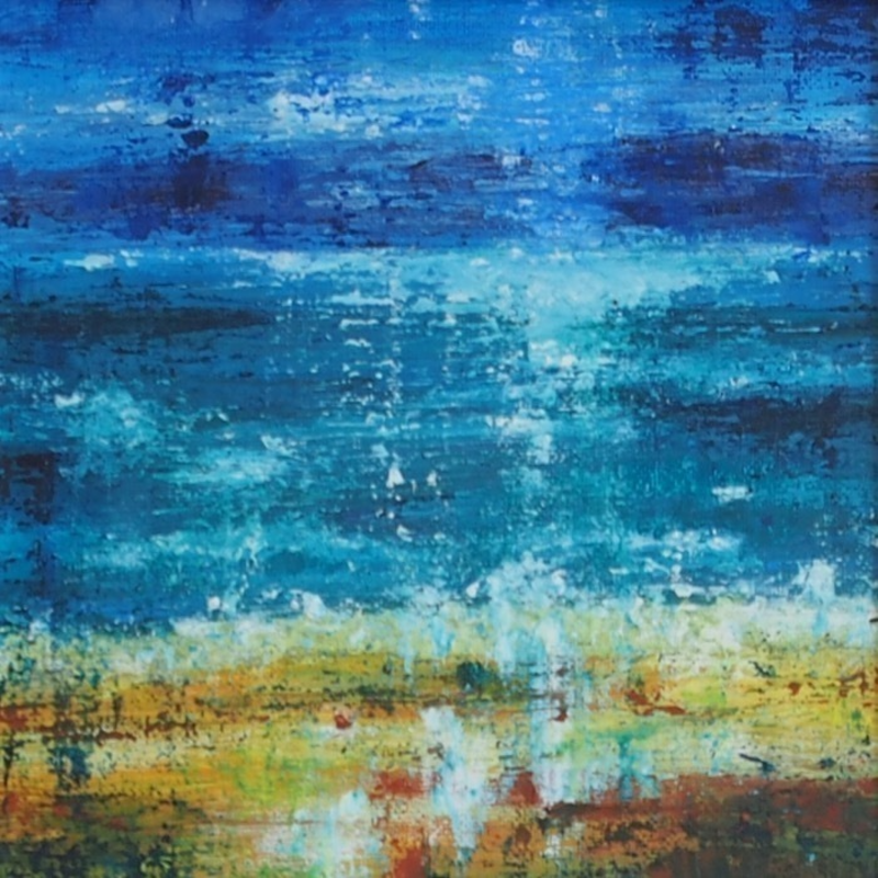(CreativeWork) Moonlit Sea by Barbara Vonk. mixed-media. Shop online at Bluethumb.
