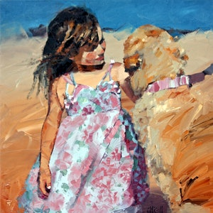 (CreativeWork) Puppy Love V by Claire McCall. oil-painting. Shop online at Bluethumb.